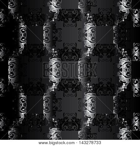 Dark black modern stylish floral abstract vector seamless pattern background with vintage volumetric silver flowers and ornaments. Luxury illustration and royal 3d decor elements with shadow and highlights. Endless elegant  texture.