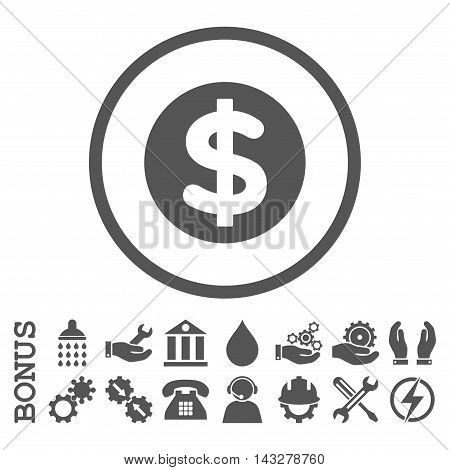 Finance glyph icon. Image style is a flat pictogram symbol inside a circle, gray color, white background. Bonus images are included.