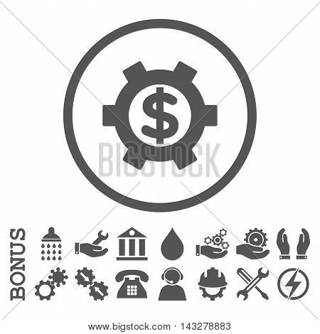 Financial Settings glyph icon. Image style is a flat pictogram symbol inside a circle, gray color, white background. Bonus images are included.