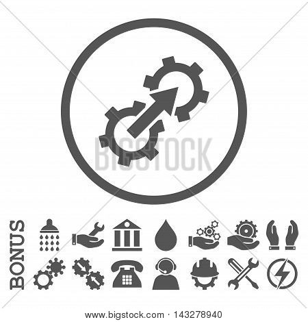 Gear Integration glyph icon. Image style is a flat pictogram symbol inside a circle, gray color, white background. Bonus images are included.