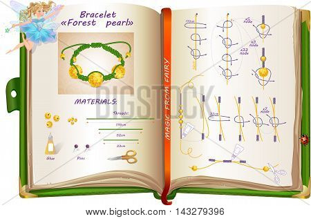 template creation bracelet of beads and thread in the form of schemes drawn in the book of fairy.