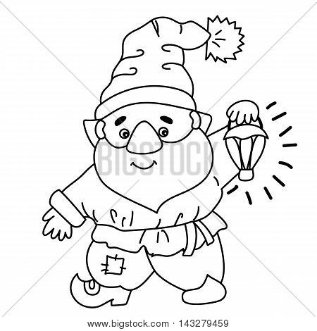 Black and white vector cute cartoon gnome