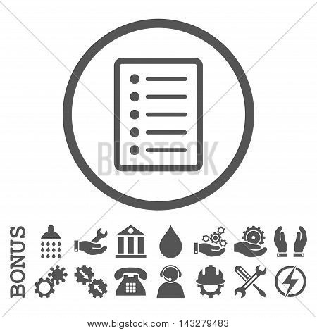 List Page glyph icon. Image style is a flat pictogram symbol inside a circle, gray color, white background. Bonus images are included.