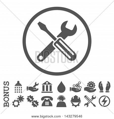 Options glyph icon. Image style is a flat pictogram symbol inside a circle, gray color, white background. Bonus images are included.