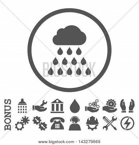 Rain Cloud glyph icon. Image style is a flat pictogram symbol inside a circle, gray color, white background. Bonus images are included.