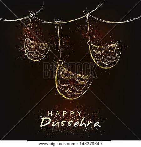 Indian Festival, Happy Dussehra celebration background with hanging mask, Can be used as Poster, Banner or Flyer design.
