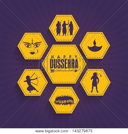 Set of creative sticker, tag or label design with different illustration on purple rays background for Indian Festival, Happy Dussehra celebration.