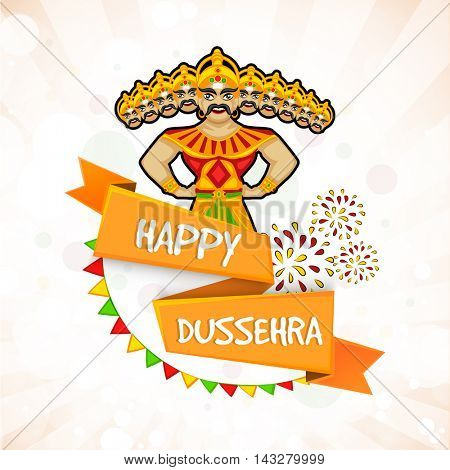 Happy Dussehra celebration background with glossy ribbon and illustration of Ravana, Concept for Indian Festival celebration.