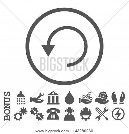 Rotate Ccw glyph icon. Image style is a flat pictogram symbol inside a circle, gray color, white background. Bonus images are included.