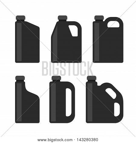 Blank Black Plastic Canisters Icons Set for Motor Machine Oil. Vector illustration