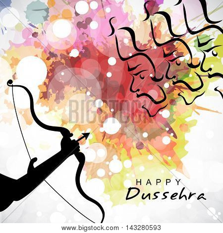 Silhouette of Lord Rama's hands taking aim towards Angry Ravana, Creative colourful abstract background for Indian Festival, Happy Dussehra celebration
