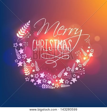 Glowing typographic background with floral decoration, Beautiful greeting card design for Merry Christmas celebration.