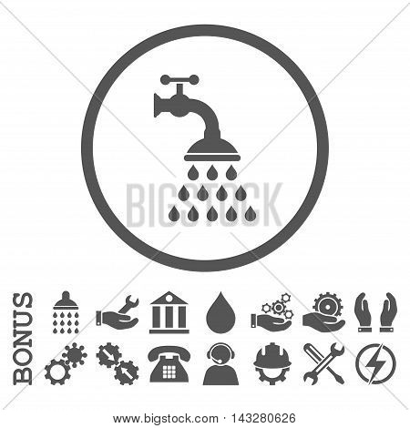 Shower Tap glyph icon. Image style is a flat pictogram symbol inside a circle, gray color, white background. Bonus images are included.