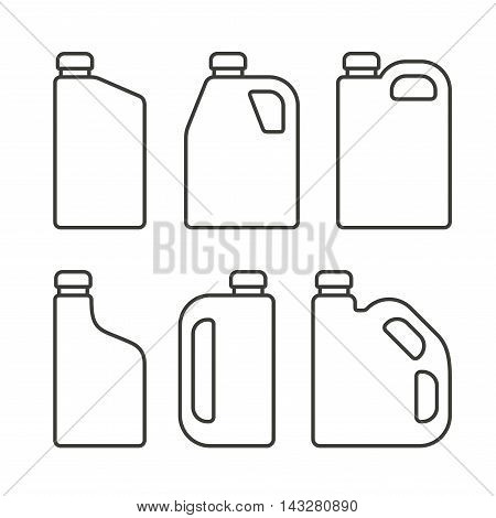 Blank White Plastic Canisters Icons Set for Motor Machine Oil. Vector illustration