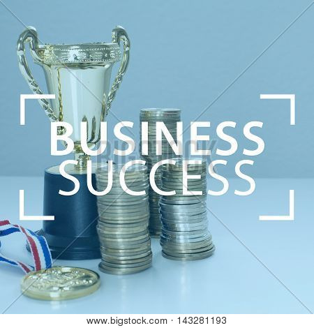 Business success with moving up coins stack