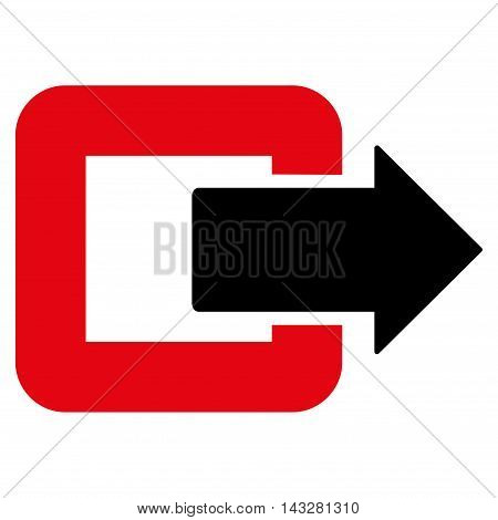 Exit Door icon. Glyph style is bicolor flat iconic symbol with rounded angles, intensive red and black colors, white background.