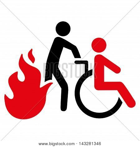 Fire Patient Evacuation icon. Glyph style is bicolor flat iconic symbol with rounded angles, intensive red and black colors, white background.