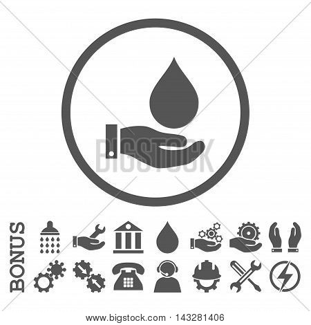 Water Service glyph icon. Image style is a flat pictogram symbol inside a circle, gray color, white background. Bonus images are included.