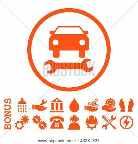 Car Repair glyph icon. Image style is a flat pictogram symbol inside a circle, orange color, white background. Bonus images are included.