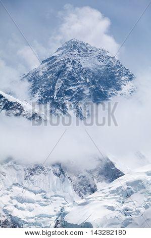 View of mt. Everest between the clouds from Kala Patthar Solu Khumbu Nepal.