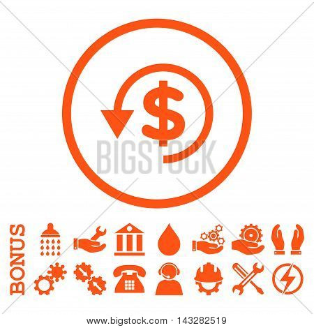 Chargeback glyph icon. Image style is a flat pictogram symbol inside a circle, orange color, white background. Bonus images are included.
