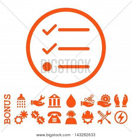 Checklist glyph icon. Image style is a flat pictogram symbol inside a circle, orange color, white background. Bonus images are included.