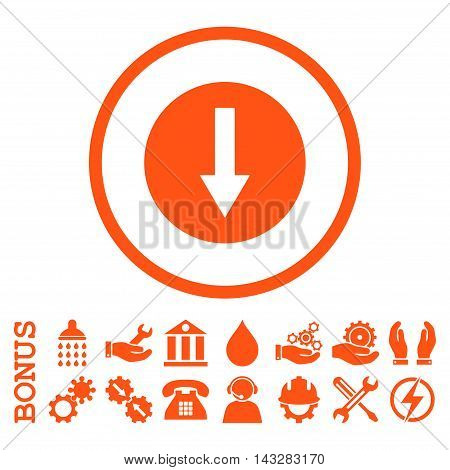 Down Rounded Arrow glyph icon. Image style is a flat pictogram symbol inside a circle, orange color, white background. Bonus images are included.