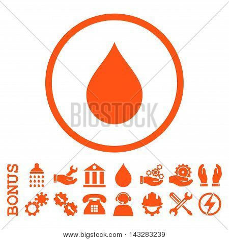 Drop glyph icon. Image style is a flat pictogram symbol inside a circle, orange color, white background. Bonus images are included.