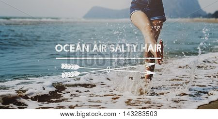 Ocean Air Salty Hair Coast Waterfront Sand Shore Concept