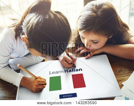 Learn Italian Language Online Education Concept