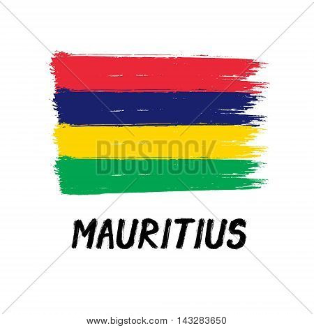 Flag Of Mauritius  - Color Grunge Icon