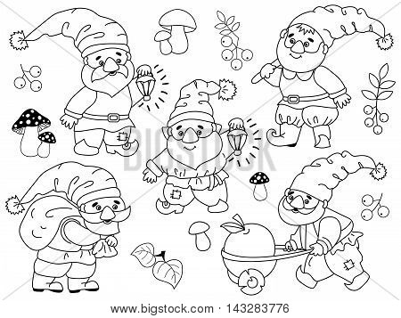 Black and white vector forest gnomes set