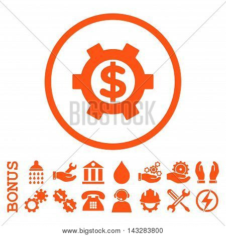 Financial Settings glyph icon. Image style is a flat pictogram symbol inside a circle, orange color, white background. Bonus images are included.