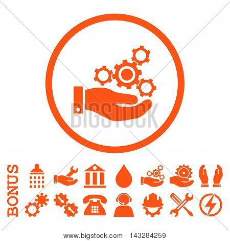 Mechanics Service glyph icon. Image style is a flat pictogram symbol inside a circle, orange color, white background. Bonus images are included.