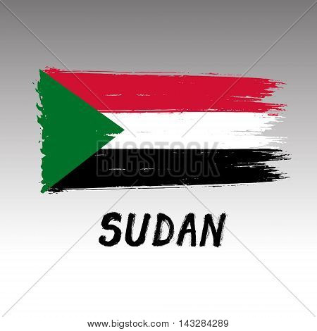 Flag Of Sudan  - Color Grunge Icon