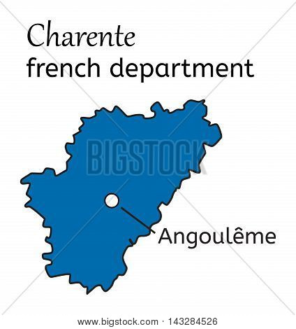 Charente french department map on white in vector