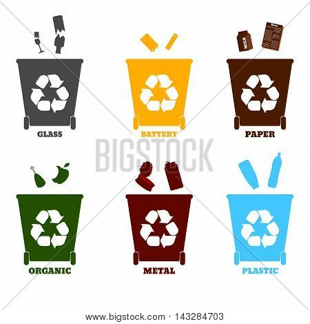 Big Colorful Containers For Recycling Waste Sorting - Plastic, Glass, Metal, Paper, Organic, Battery