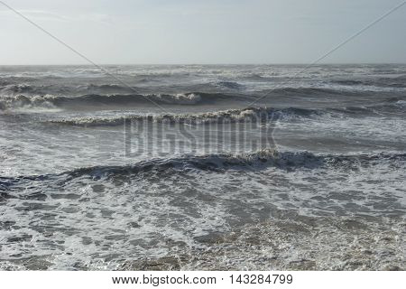 Strong south wind at the beach of Alexandroupolis - Greece