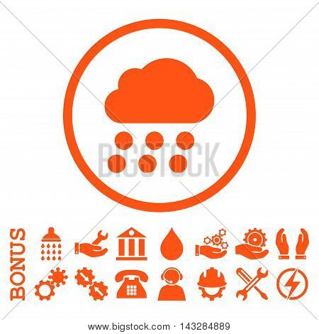 Rain Cloud glyph icon. Image style is a flat pictogram symbol inside a circle, orange color, white background. Bonus images are included.