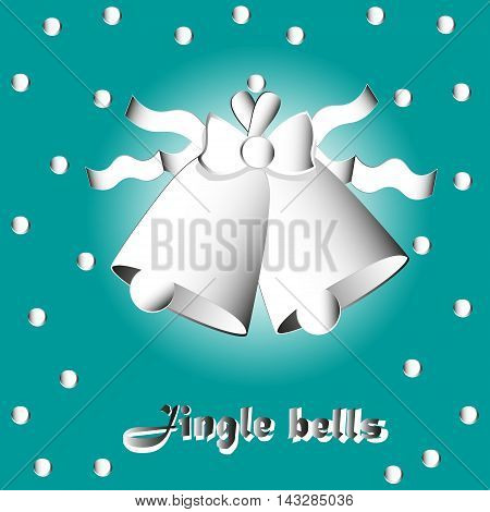 Two bells with bow and ribbon Vector illustration on a green background Two bells with ribbon bow and snowflake falling confetti or paper applique style