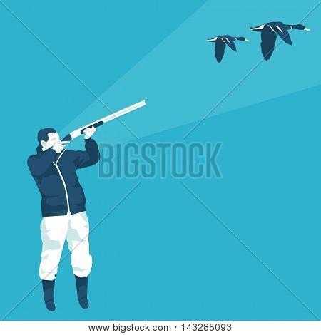 hunter shoots a duck in vector format eps10