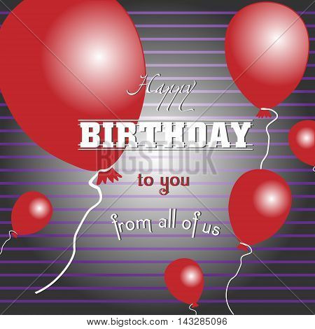 Happy birthday to you with red balloons Card happy birthday striped with red voluminous balls for design
