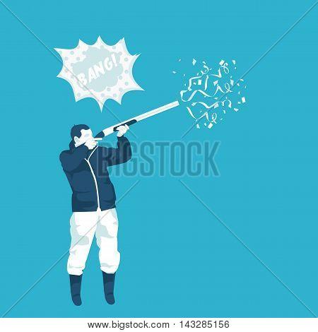 hunter shoots confetti gun in vector format eps10