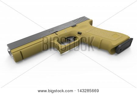 9mm isolated pistol on white background. 3D render