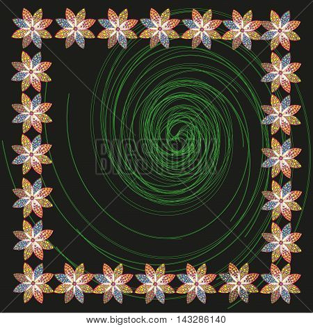 Frame of flowers and green vortex Vector illustration Frame of flowers and green vortex on a black background for decoration and design