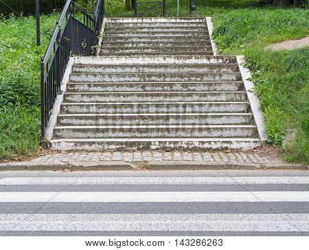Progress: A Crosswalk In Front Of Stairs