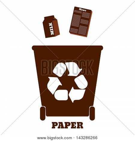 Big colorful containers for recycling waste sorting - paper. Vector illustration.