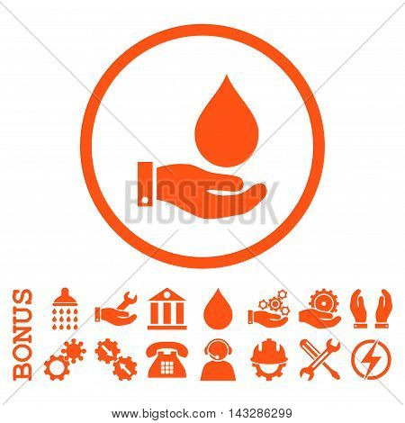 Water Service glyph icon. Image style is a flat pictogram symbol inside a circle, orange color, white background. Bonus images are included.