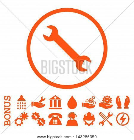 Wrench glyph icon. Image style is a flat pictogram symbol inside a circle, orange color, white background. Bonus images are included.