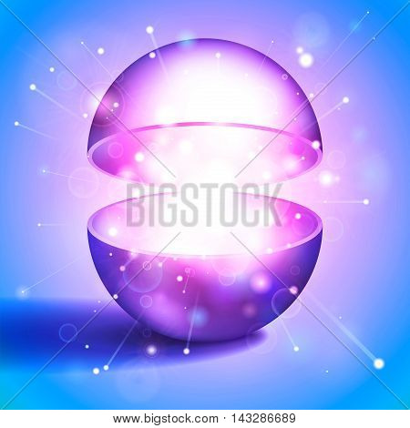 Vector magic ball, volume open sphere, light inside, festive fireworks, pink and blue, abstract object for you project design
